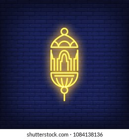 Ramadan lantern neon sign. Beautiful traditional Arabian lamp. Night bright advertisement. Vector illustration in neon style for holiday decoration or religious festival