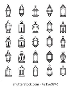 Ramadan Lantern Symbol Monochrome Background Vector Illustration