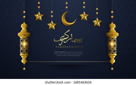 Ramadan with luxury ornament background. Ramadan with arabic lamp, star, moon and calligraphy background