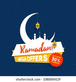 Ramadan mega offers banner design with crescent moon, hanging lanterns and 30% discount offer on blue background.
