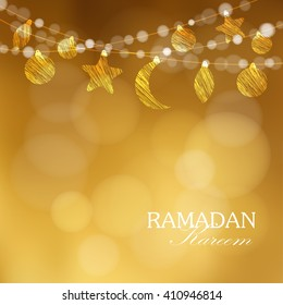 Ramadan moon, stars. Party decoration. Golden festive glitter blurred web background. Greeting card, invitation for muslim holly month Ramadan Kareem. vector