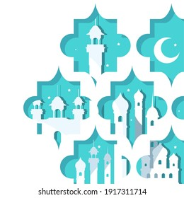 Ramadan mosques and moon in blue frames design, Islamic muslim religion and culture theme Vector illustration
