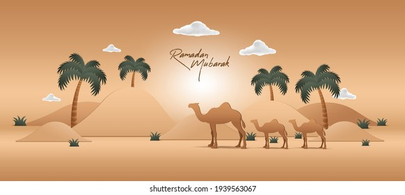 Ramadan Mubarak Background With Realistic Desert Palm Tree Podium Illustration Concept