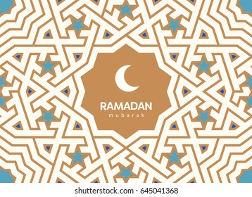 Ramadan Mubarak beautiful greeting card. Background with crescent moon and traditional arabic pattern