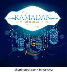 Ramadan Mubarak. Beautiful traditional hanging Lamp. Islamic Holy Month. Sketch of Ramadan Lantern. Background. Vector Illustration.