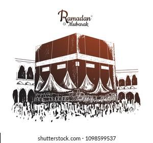 Ramadan Mubarak celebration. vector illustration hand drawing of big holy kaaba in saudi arabia