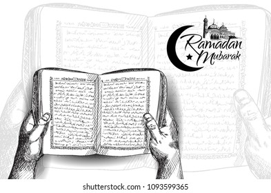 Ramadan Mubarak free hand drawing sketch of hand opening holy book of the quran with mosque. Vector illustration