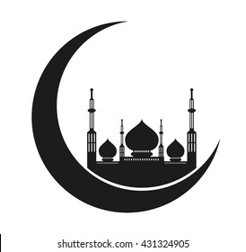 Ramadan mubarak greeting card. crescent moon with mosque silhouette.use as flyer,banner or poster design element for Muslim community festival or holiday. islamic symbol