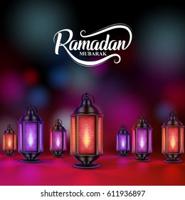Ramadan mubarak greetings vector design with colorful lanterns or fanoos in dark night background. Vector illustration.