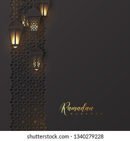 Ramadan Mubarak holiday background. 3d paper cut hanging lanterns with pattern in traditional islamic style. Design for greeting card, banner or poster. Vector illustration.