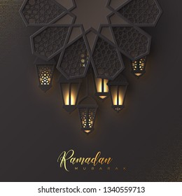 Ramadan Mubarak holiday design. 3d paper cut flower decorated traditional islamic pattern with shiny hanging lanterns, golden greeting text, black background. Vector illustration.