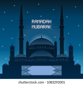 Ramadan mubarak mahya lights over a mosque silhouette. All the objects and letters are in different layers and you can write anything you want with the mahya candles.