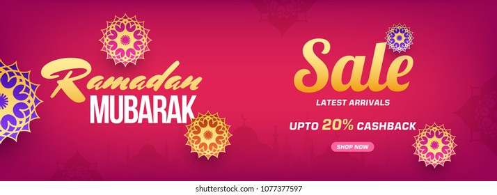 Ramadan mubarak sale web banner or header design with beautiful florals, and upto 20% off offers, on pink background.