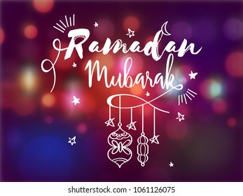 Ramadan Mubrark text with hanging lanterns, and stars on shiny colorful background.