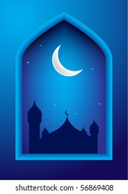 Ramadan night with mosque & moon on background