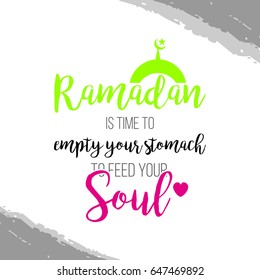 Ramadan quote with mosque icon. Vector illustration