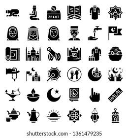 Ramadan related vector icon set, solid design