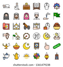 Ramadan related vector icon set, filled design editable outline