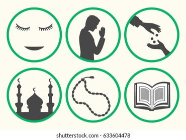 Ramadan rules signs. Some actions recommend during month of patience. Ramadan etiquette tips illustration. Stock vector.