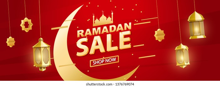 ramadan sale banner place for text gold eid objects