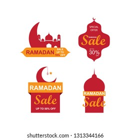 Ramadan sale banners set,discount and best offer tag, label or sticker set on occasion of Ramadan Kareem and Eid Mubarak