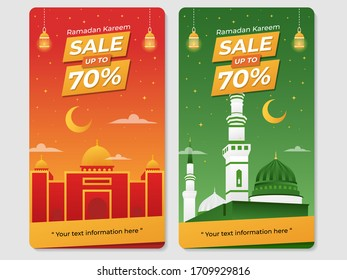 Ramadan sale, discount and offer. for social media, standing and hanging banner. modern style Illustration vector