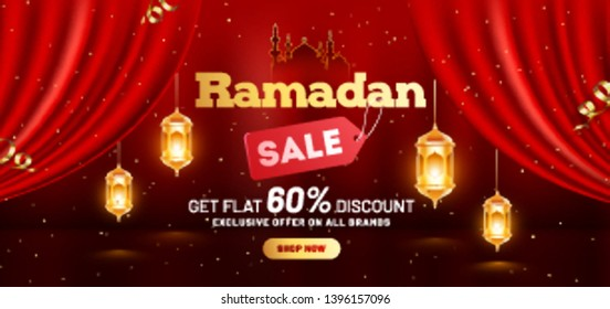 Ramadan Sale header or banner design with 60% discount offer and hanging illuminated lanterns on brown background.