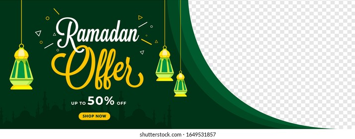 Ramadan Sale Header or Banner Design with 50% Discount Offer and Hanging Lanterns Decorated on Green and Png Background.