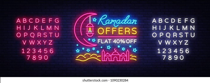 cdc3cd8d47632 Ramadan Sale neon sign vector. Ramadan Kareem Web design banner in modern  trendy style for