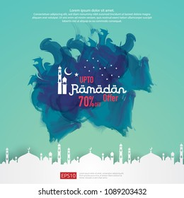 Ramadan sale offer banner design. Promotion poster, voucher, discount, label, greeting card of Ramadan Kareem and Eid Mubarak celebration. blue watercolor background vector illustration
