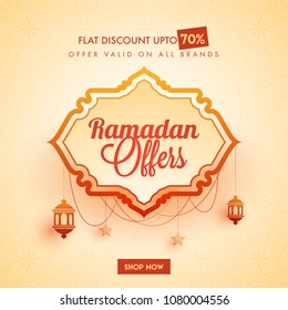 Ramadan sale offers banner design with stylish text and hanging lanterns, and stars on beige background.