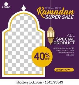Ramadan sale social media post template banners ad. Editable vector illustration
