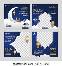 Ramadan sale social media post template banners ad. Editable vector illustration.