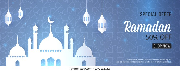 Ramadan Sale special offer web banner design with beautiful crescent lantern  mosque white color Upto 50% off design