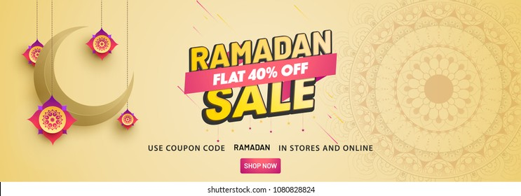 Ramadan Sale, web header or banner design with crescent moon and flat 40% off offers on floral pattern background.