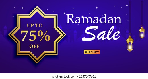 Ramadan sale, web header and banner design with hanging intricate lanterns, poster, ramadan greeting Card Illustration, background, flyer,illustration, brochure and sale background