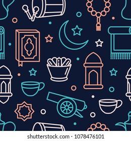 Ramadan Seamless Pattern with line vector illustration