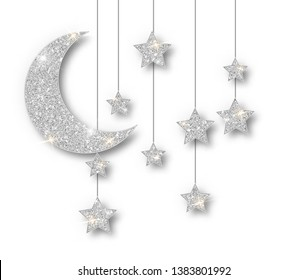 Ramadan silver decoration isolated on white background. Hanging Crescent Islamic glitter stars. Ramadan Kareem design element isolated. Vector frame for party posters, headers, banners.