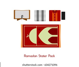 Ramadan Stater pack for muslim sarong prayer rugs cap Quran beads top view flat lay isolated vector illustration