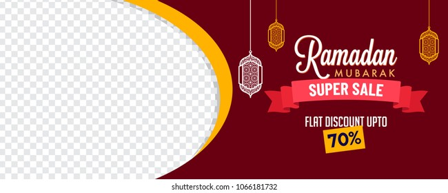 Ramadan super sale, web banner design with hanging intricate lanterns and space for your image. Upto 70% discount offer.