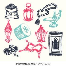 Ramadan Symbols - vintage color vector hand drawn objects composition. Realistic zakat al-fitr, dates, beads, drum, lamp, prayer rug, flying magic carpet, lantern. Islamic traditions, culture.