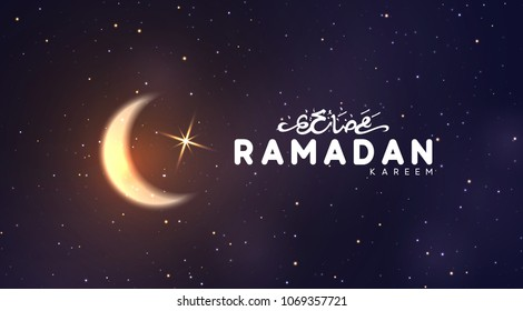 Ramadan vector background. Arabic calligraphic text of Ramadan Kareem. Night view of starry sky bright moon, light half a month. Design greeting card, banner, poster. Traditional Islamic holy holiday