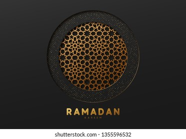 Ramadan vector background. Effect of the cut paper with the embossed. Black and gold pattern. Ramadan Kareem. Creative design greeting card, banner, poster. Traditional Islamic holy holiday.