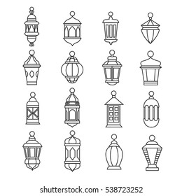 Ramadan vintage lantern linear icons. Vector muslim antique lamp symbols. Old oil lantern classic illustration