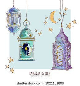 Ramadan watercolor Arabic lanterns vector design elements.