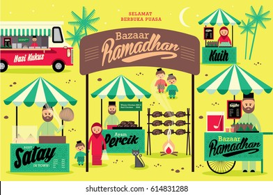 ramadhan bazaar template vector/illustration with malay words that mean steamed rice/percik chicken/ cakes/ happy breaking of fast