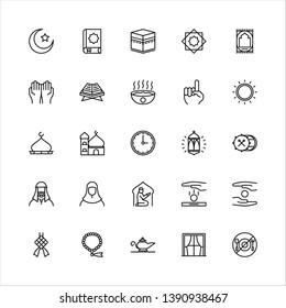 Ramadhan icon set, line style