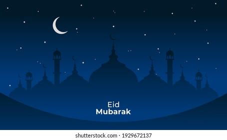 Ramadhan Kareem. Happy Eid Mubarak. Islamic, mosque, night, eid, star, moon, blue. Vector