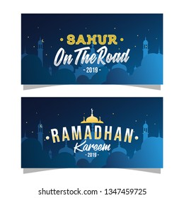 ramadhan vector, Eid mubarak horizontal greeting banner with caligraphy ramadhan kareem and sahur on the road. night mosque silhoutte background. vector