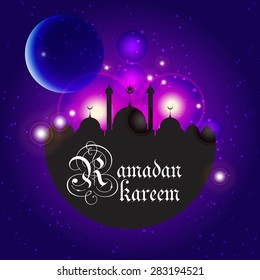 Ramazan Kareem Greeting card / Mosque and crescent moon with stars Ramazan Kareem on creative blue background / paper craft style